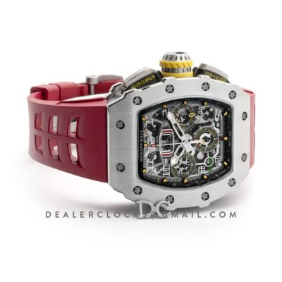 RM 011-03 Automatic Flyback Chronograph in Titanium on Red Rubber