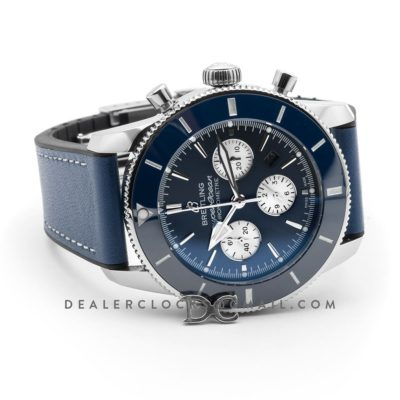 Superocean Heritage II B01 Chronograph in Blue Dial on Steel on Blue Leather Strap
