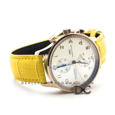Portugieser Chronograph Automatic White Dial in Rose Gold on Yellow Leather Strap
