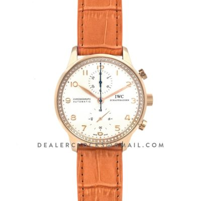 Portugieser Chronograph Automatic White Dial in Rose Gold on Orange Leather Strap