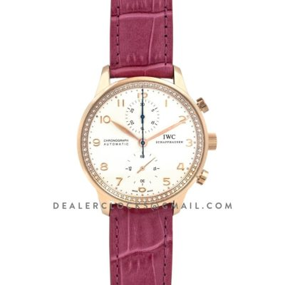 Portugieser Chronograph Automatic White Dial in Rose Gold on Purple Leather Strap