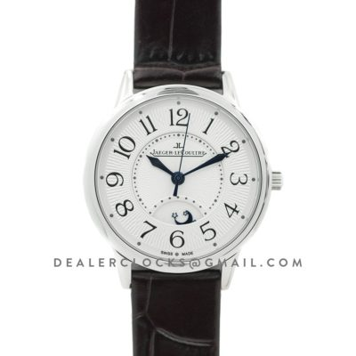 Rendez-Vous Date White Dial in Steel on Black Leather Strap