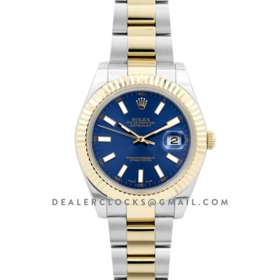 Datejust II 116233 Blue Dial in Yellow Gold/Steel with Stick Markers