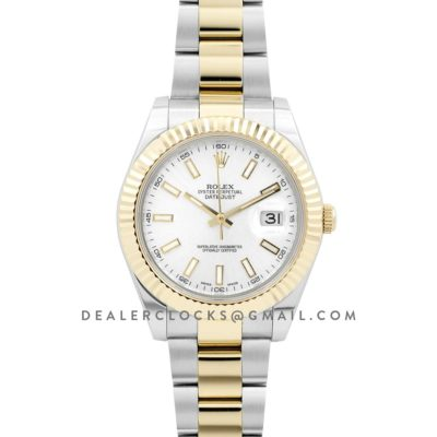 Datejust II 126303 White Dial in Yellow Gold/Steel with Sticker Markers on Oyster Bracelet