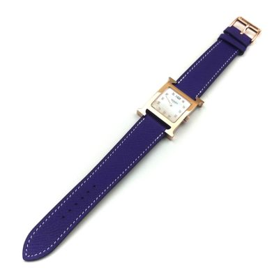 Heure H Rose Gold with Diamond Markers on Purple Epsom Leather Strap