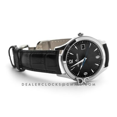 Master Control Date Black Dial in Steel on Black Leather Strap