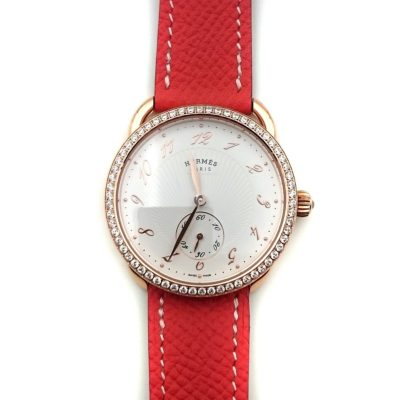 Arceau Petite Rose Gold with Diamond Bezel on Vermilion Epsom Leather Strap