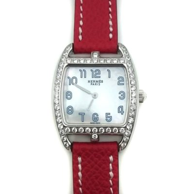 Cape Cod Tonneau Steel with Diamond Bezel on Red Epsom Leather Strap