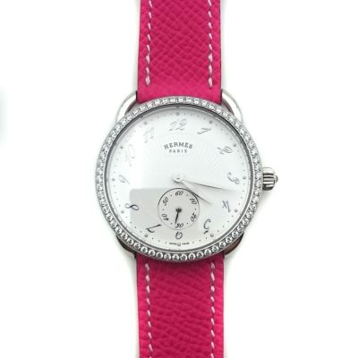 Arceau Petite Steel with Diamond Bezel on Pink Epsom Leather Strap