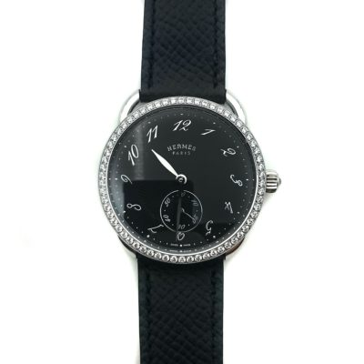 Arceau Petite Steel Black Dial with Diamond Bezel on Black Epsom Leather Strap