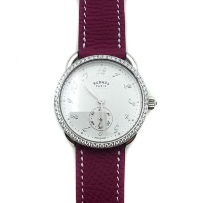 Arceau Petite Steel with Diamond Bezel on Violet Epsom Leather Strap