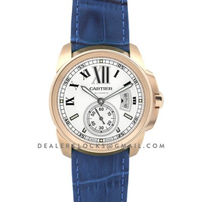 Calibre de Cartier White Dial in Rose Gold on Blue Leather Strap