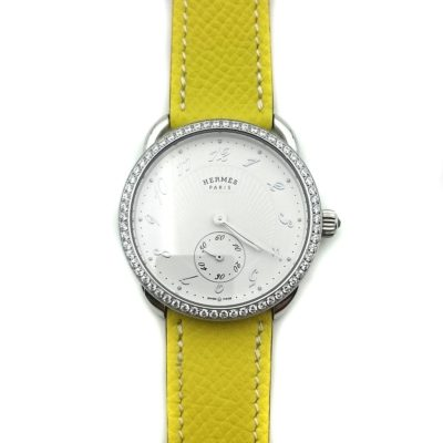 Arceau Petite Steel with Diamond Bezel on Yellow Epsom Leather Strap