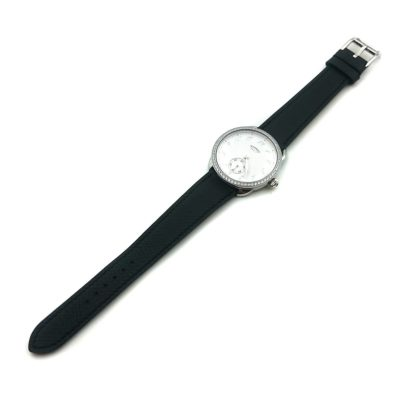 Arceau Petite Steel with Diamond Bezel on Black Epsom Leather Strap