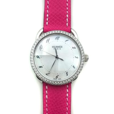 Arceau Steel with Diamond Bezel on Pink Epsom Leather Strap