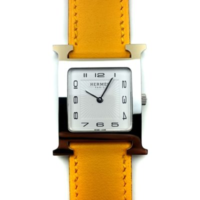 Heure H Steel on Yellow Fjord Leather Strap