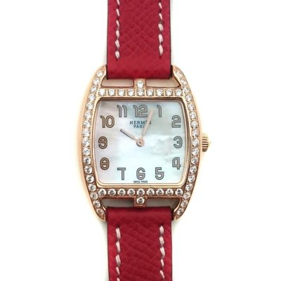 Cape Cod Tonneau Rose Gold with Diamond Bezel on Red Epsom Leather Strap
