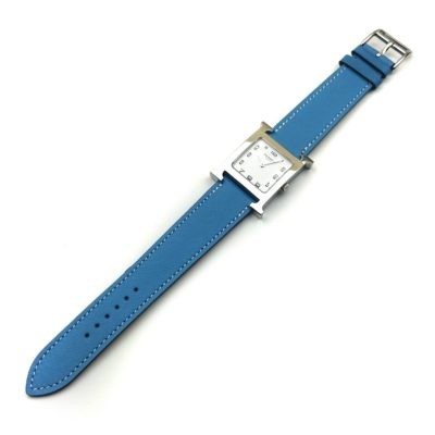 Heure H Steel on Light Blue Fjord Leather Strap