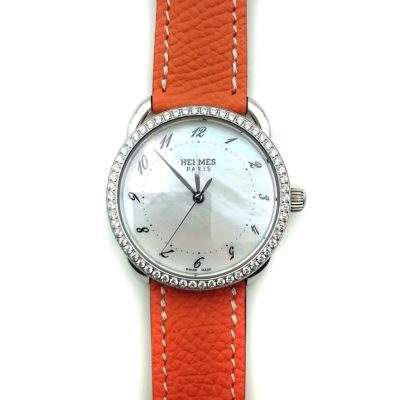 Arceau Steel with Diamond Bezel on Orange Epsom Leather Strap
