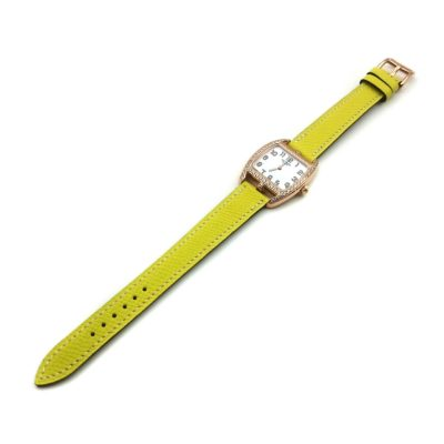 Cape Cod Tonneau Rose Gold with Diamond Bezel on Yellow Epsom Leather Strap
