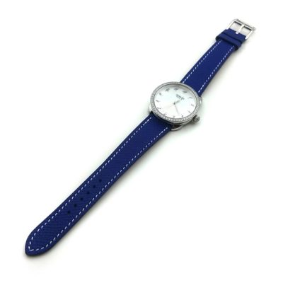 Arceau Steel with Diamond Bezel on Blue Epsom Leather Strap