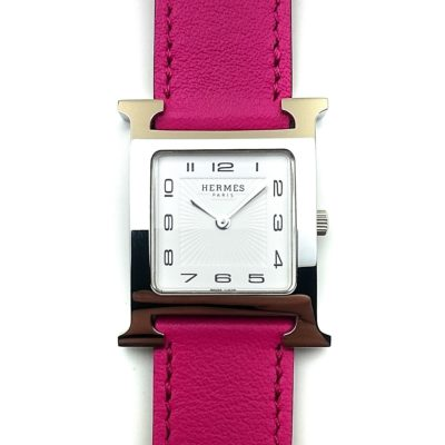 Heure H Steel on Pink Fjord Leather Strap