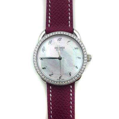 Arceau Steel with Diamond Bezel on Violet Epsom Leather Strap