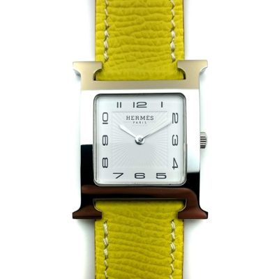 Heure H Steel with Diamond Markers on Yellow Epsom Leather Strap