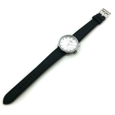 Arceau Steel with Diamond Bezel on Black Epsom Leather Strap