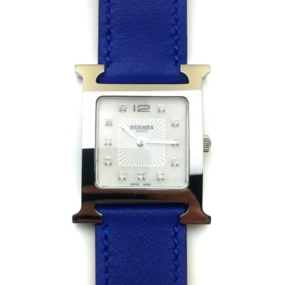 Heure H Steel with Diamond Markers on Blue Epsom Leather Strap