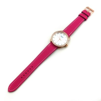 Arceau Rose Gold with Diamond Bezel on Pink Epsom Leather Strap