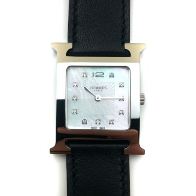 Heure H Steel with Diamond Markers on Black Fjord Leather Strap