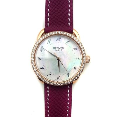 Arceau Rose Gold with Diamond Bezel on Violet Epsom Leather Strap