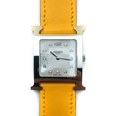 Heure H Steel with Diamond Markers on Amber Fjord Leather Strap