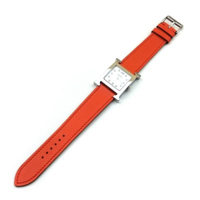 Heure H Steel with Diamond Markers on Orange Fjord Leather Strap