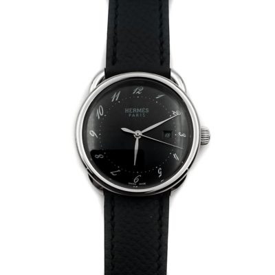 Arceau Steel Black Dial on Black Epsom Leather Strap