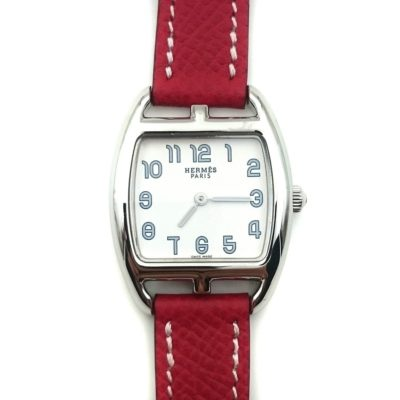 Cape Cod Tonneau Steel on Red Epsom Leather Strap