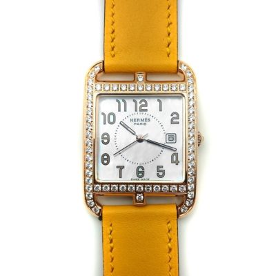 Cape Cod GM Quartz Rose Gold with Diamond Bezel on Yellow Fjord Leather Strap