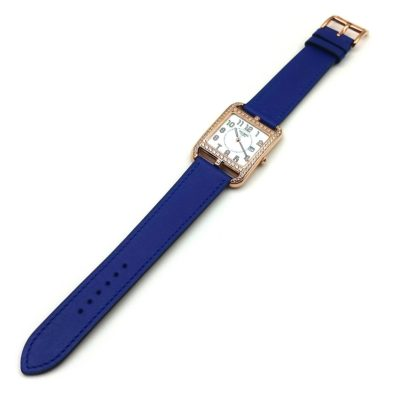 Cape Cod GM Quartz Rose Gold with Diamond Bezel on Blue Fjord Leather Strap