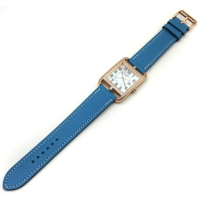 Cape Cod GM Quartz Rose Gold with Diamond Bezel on Light Blue Fjord Leather Strap