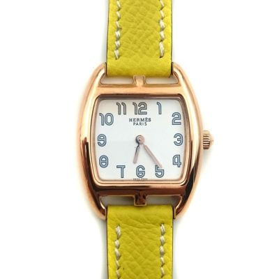 Cape Cod Tonneau Rose Gold on Yellow Epsom Leather Strap