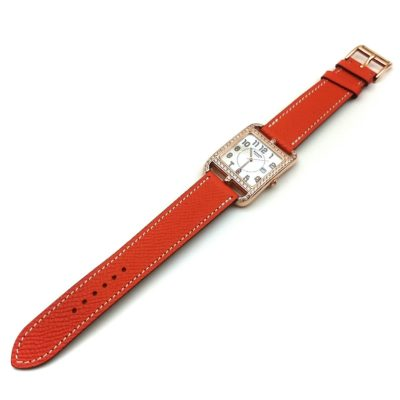 Cape Cod GM Quartz Rose Gold with Diamond Bezel on Orange Epsom Leather Strap