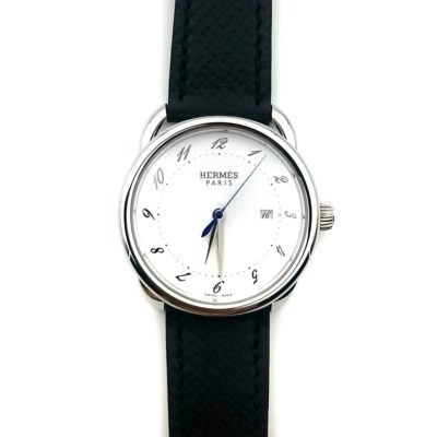 Arceau Steel on Black Epsom Leather Strap