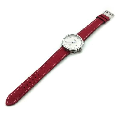 Arceau Steel on Red Epsom Leather Strap