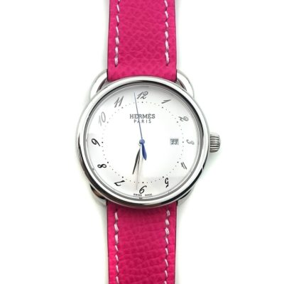 Arceau Steel on Pink Epsom Leather Strap