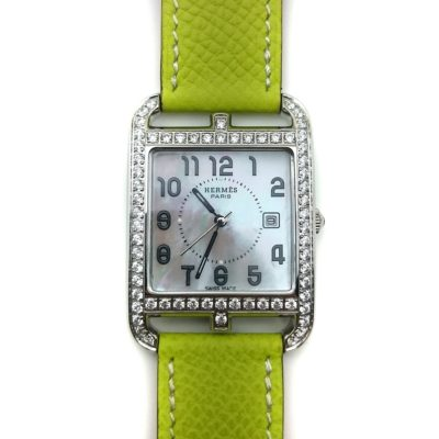 Cape Cod Steel with Diamond Bezel on Green Epsom Leather Strap