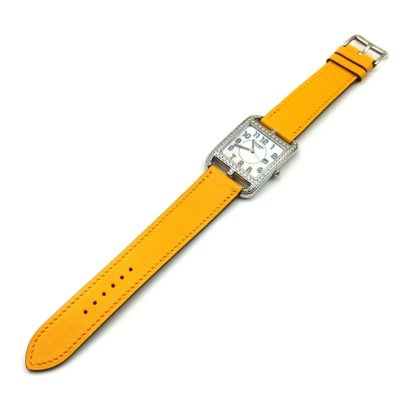 Cape Cod Tonneau Steel with Diamond Bezel on Yellow Fjord Leather Strap
