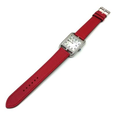 Cape Cod Steel with Diamond Bezel on Red Fjord Leather Strap