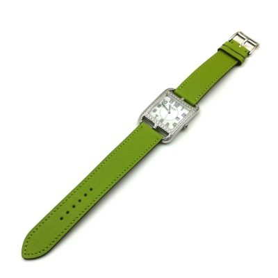 Cape Cod Steel with Diamond Bezel on Green Fjord Leather Strap
