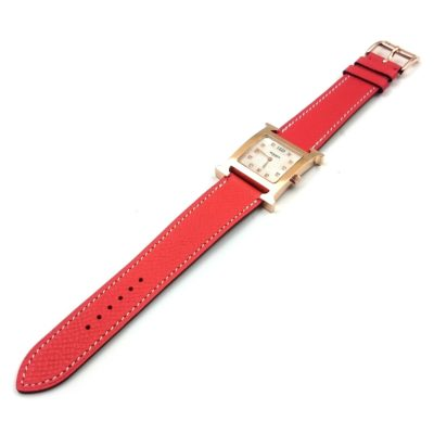 Heure H Rose Gold with Diamond Markers on Vermilion Epsom Leather Strap
